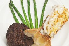 An exquisite close-up of a perennial crowd favorite at Weber's — lobster, steak, and asparagus. Yum.