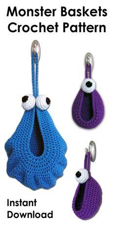 Monster basket crochet patterns. Fun and useful baskets patterns to crochet. 2 sizes included. #crochetbasket, #MonsterBasket, #affiliate