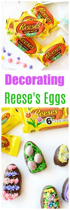 #AD Easter is just a hip and a hop away! This edible Easter craft is so much fun for kids of ages. We used REESE'S Peanut Butter Eggs as our canvas for decorating. Frosting and sprinkles added personalized fun to each egg. Perfect activity for kids to participate in this Easter season. #BeSoEggstra #SheSpeaks @Walmart @Reeses via @sizzlingeats
