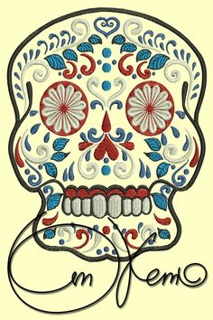 MACHINE EMBROIDERY FILE - Sugar skull | via etsy