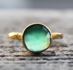 Gold Emerald Green Onyx Gemstone Ring - Stackable Ring - Glowing Green