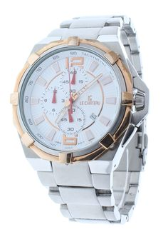 Le Chateau 5707-MTT-WHT Men's Chronograph Stainless Steel Watch Rose Gold Accents On White Dial
