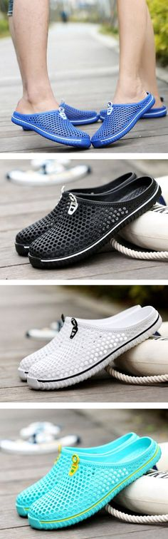 US$9.66 Big Size Hollow Out Breathable Open Heel Slip On Flat Casual Beach Sandals