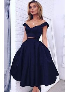 Customized Substantial Blue Prom Dresses Chic Off The Shoulder Navy Blue Homecoming Dresses Short Prom Dresses