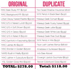 Dupe the Look Makeups