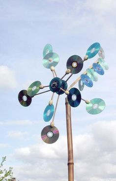 Recycled cd whirligig