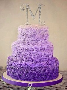 This has definitely been a big year for the rosette design, so I was thrilled to be able to do this ombre wedding cake for Robin and Steven. Photo by Kevin Paul Photography Purple Cakes, Purple Wedding Cakes, Wedding Cake Rustic, Pretty Cakes, Cute Cakes, Beautiful Cakes, 16 Birthday Cake, Purple Birthday Cakes, 16th Birthday
