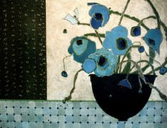 """Bowlful of Blue Poppies,"" oil on canvas by Karen Tusinski."