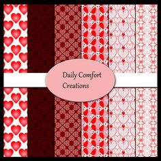 Valentine's Digital Paper, Instant Download, Commercial Use, Scrapbook Papers, Background