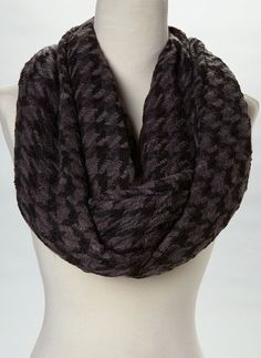 Black & Gray Houndstooth Infinity Scarf