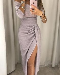 Glitter Ruched Thigh Slit Party Dress, We all love sexy deep v-neck details dress, so bring attention to this maxi dress. Killer your look with high heels. Size:M,L Party Dresses Online, Cheap Prom Dresses, Prom Gowns, Dress Online, Ruched Dress, Bodycon Dress, New Years Eve Dresses, Frack, The Dress