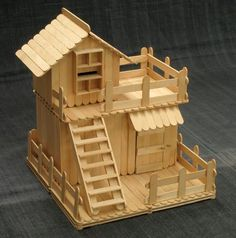 This popsicle stick house is a kit - for sale in Taiwan. But I think it could be done from the picture.