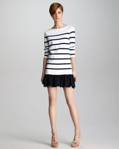 Red Valentino Lace Hem Striped Knit Dress in White
