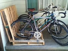 Hacks - Make a Pallet Bike Rack. Have old pallets that you need to get rid of? Why not make a bike rack to get your garage organized?