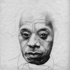 """James Baldwin,"" 2007, (graphite on Italian handmade paper) from the ""Harlem Masters"" series."