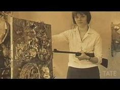 Niki de Saint Phalle used a rifle for her violent action paintings such as Shooting Painting, 1962 Jean Tinguely, Fluxus, Action Painting, Museum Exhibition, Still Image, Scandinavian Design, Art History, Body Art, Vintage World Maps