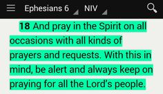 """""""And pray in the Spirit on all occasions with all kinds of prayers and requests. With this in mind, be alert and always keep on praying for all the Lord's people"""" (Ephesians 6:18 NIV). #KWMinistries"""