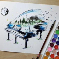 Watercolor Piano with nature - Print of My Original Painting - Musical Instrument - Watercolor Piano - Nursery art - Wall Art - Art Print - Drawing Piano, Piano Art, Drawing Art, Music Painting, Art Music, Musical Instruments Drawing, Nature Prints, Art Prints, Music Drawings