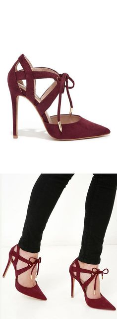 Wine lace up heels