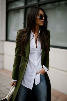 Minimalist outfit, classic chic, army green trench, Classic white button up shirt, untucked dress shirt