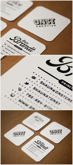 Embossed business cards with some great typography thrown in for good measure.