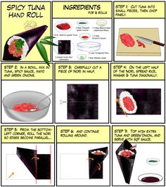 """Temaki (手巻, """"hand roll"""") is a large cone-shaped piece of nori on the outside and. Temaki (手巻, """"hand roll"""") is a large cone-shaped piece of nori on the outside and the ingredients spilling out the wide end. Sushi Recipes, Wrap Recipes, Asian Recipes, Cooking Recipes, Recipies, Japanese Dishes, Japanese Food, Japanese Recipes, Spicy Tuna Roll"""
