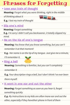 Expressions for forgetting & remembering and reminding in English! Learn useful phrases for forgetting & remembering and reminding with their meaning and examples with ESL image. English Idioms, English Vocabulary Words, English Phrases, Learn English Words, English Lessons, English Grammar, Learn Spanish, English Test, Vocabulary List