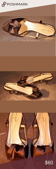 KATE SPADE OPEN TOE CASUAL SLINBACK SLIM HEELS Imported.  Elegant.  Flirtatious and beautiful.  Comfortable heels because they are not too?high.  Classic design.  Easy to wear.  High quality.  Barely used.  Very good condition.  Without any stains, rips or holes.  Casual or work occasion.  Satisfaction guaranteed.  Great price.  Excellent purchase choice. You will not regret.  *HEEL HEIGHT: High (3 in. to 4.5 in.)  * HEEL TIPE: Slim. kate spade Shoes Heels