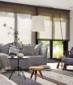Living room | natural light | simple cozy | blinds | soft grey
