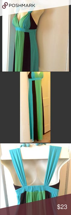 """XOXO Maxi dress Bright and classy, chocolate brown, green, and turquoise maxi. Wide straps, padded cups (easily could go bra-less), elastic under bust and around. Wore it once, maybe? Too long for my 5'""""3 frame, but super flattering on any body. Sturdy material with plenty of stretch. (Necklace for sale too, just ask). XOXO Dresses Maxi"""