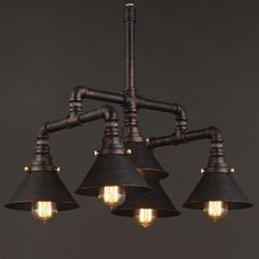Antique Copper 5 Light Pipe Chandelier