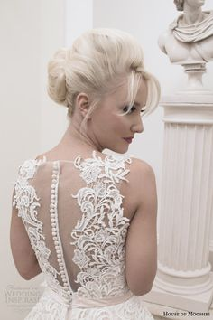 house of mooshki bridal autumn 2014 dara sleeveless blush tea length wedding dress close up back