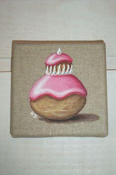 Tableau peinture gâteau religieuse à la rose : Peintures par kb-creations