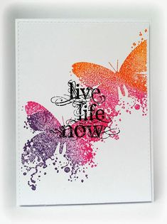 Visible Image - Butterfly INKognito - Live Life Now - Susanne Rose Card Making Inspiration, Making Ideas, Create And Craft Tv, Butterfly Crafts, Butterfly Artwork, Card Making Techniques, Brusho Techniques, Image Stamp, Beautiful Handmade Cards
