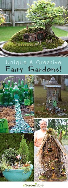 a Creative DIY Fairy Garden Unique and Creative Fairy Gardens Lots of Tips and Ideas!Unique and Creative Fairy Gardens Lots of Tips and Ideas! Garden Crafts, Garden Projects, Garden Art, Diy Projects, Garden Types, Diy Garden, Tower Garden, Fairy Crafts, Garden Kids