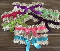 Set of 7 Bridesmaid Garters, Bridesmaid Gift, Bachelorette Party Gift, Wedding Gift, Bridal Party Favors, Bridal Shower Favor