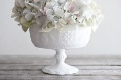 Milk Glass + White Hydrangeas