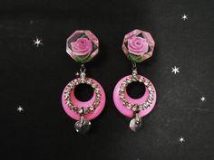 Pink Hoop Earrings - One of a Kind Handmade - Rhinestones - Vintage Carved Lucite Flower - Crystal Hearts Dangle - Spring Retro Style Hoops by LunaJunctionVintage on Etsy