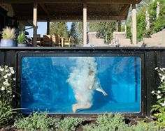 this shipping container swimming pool can be used at any time of year Container Home Designs, Container Cabin, Cargo Container, Container Gardening, Container Homes, Swiming Pool, Swimming Pools Backyard, Swimming Pool Designs, Above Ground Pool