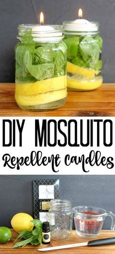Make your own DIY mosquito repellent candles with a few simple ingredients and some mason jars! Make your own DIY mosquito repellent candles with a few simple ingredients and some mason jars! Pot Mason, Mason Jar Crafts, Mason Jar Diy, Candle Mason Jars, Plants In Mason Jars, Diy Mosquito Repellent, Insect Repellent, Bug Repellent Candles, Mosquito Spray