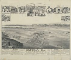 Wildomar, in Riverside County, began as a subdivision map in 1885. By 1887, as this view shows, Wildomar had a school, a blacksmith, and the inevitable hotel. Declining rail service in the early 1900s stalled Wildomar's incorporation. Unlike the towns that faded after the boom of 1887, Wildomar persisted, finally incorporating in 2008, only to face possible disincorporation seven years later. Photograph courtesy of Bancroft Library, UC Berkeley.