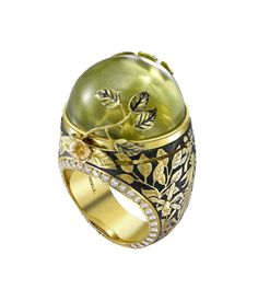 Theo Fennell - Green Beryl Rainforest ring, opens to reveal a tiny golden frog... pweeeeeez mine?