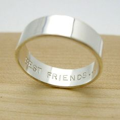 """Secret Promise Ring -- Best Friends Available in whole and half sizes 4 - 12  A beautiful handmade sterling silver band with the words """"Best Friends"""" hand stamped on the inside!  Included with your ri"""