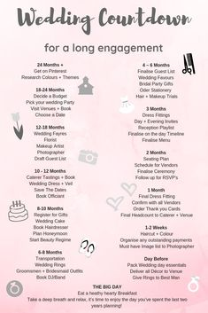 Wedding Countdown & Wedding Timeline & Long Engagement & Two Year Engagement & Wedding Planning Source by Wedding Guest List, Wedding Tips, Wedding Events, Wedding Favors, Wedding To Do List, Plan My Wedding, Wedding Party List, Trendy Wedding, Wedding Stuff