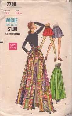 MOMSPatterns Vintage Sewing Patterns - Vogue 7788 Vintage 60's Sewing Pattern GROOVY Mod Micro Mini Twiggy Skirt, Long Floor Length Hostess Maxi Skirt with Scarf Sash Belt