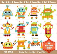 Buy 2 Get 2 Free ---- Digital Naughty Robots Set 2 ---- Personal and Small Commercial Use ---- BB 0099. $5.00, via Etsy.