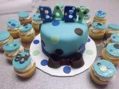 Polka Dot Baby Shower Cake and Cupcakes