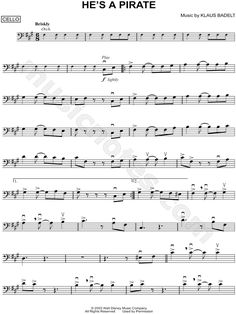 Print and download He's a Pirate sheet music from Pirates of the Caribbean: The Curse of the Black Pearl arranged for Cello. Instrumental Solo in F# Minor.