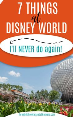 Walt Disney World vacation planning tips and tricks -- Rides, food, resorts, and hotels that I won't be doing on our next family vacation. Picture of the monorail was taken in Epcot during the Flower and Garden Festival. Disney On A Budget, Disney World Vacation Planning, Walt Disney World Vacations, Disney Cruise, Disney Parks, Disney World Secrets, Disney World Outfits, Gifts For Disney Lovers, Drinking Around The World