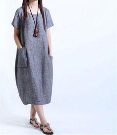 Plus Size Women Dress 2016 New Arrival Vestidos De Mujer Fashion Loose Dress Cotton and Line Maxi Summer Clothing Midi Dress